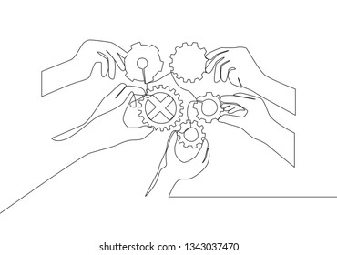 Single continuous line drawing of hand gesture business team members unite piece of gears to one. Teamwork concept one line draw design illustration