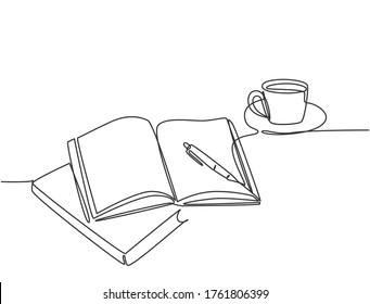 Single continuous line drawing of hand gesture writing on an open book beside a cup of coffee at work desk. Writing draft business concept. Modern one line draw design vector graphic illustration
