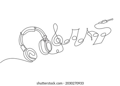 Single continuous line drawing headphones. Music gadget and note. Audio headphone outline sketch. Lineart vector concept of musical symbol. Dynamic one line draw graphic design vector illustration