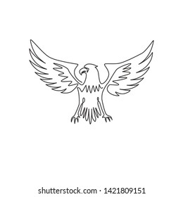 Single continuous line drawing of heroic eagle for e-sport team logo identity. Falcon bird mascot concept for graveyard icon. One line draw design illustration