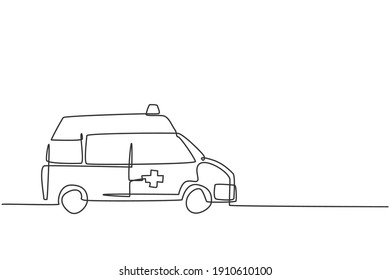 Single continuous line drawing of hospital ambulance vehicle to rescue critical patient. 911 isolated minimalism concept. Dynamic one line draw graphic design vector illustration on white background