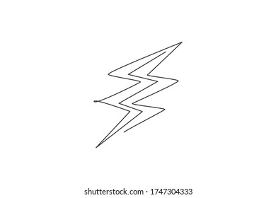 Single continuous line drawing of light thunder bolt logo label. Power up energy strike for electrical company logotype icon concept. Modern one line draw graphic design vector illustration