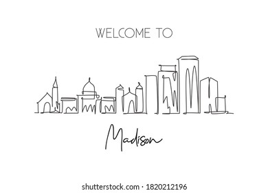 Single continuous line drawing of Madison city skyline, Wisconsin. Famous city scraper landscape. World travel home wall decor art poster print concept. Modern one line draw design vector illustration