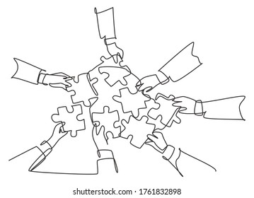Single continuous line drawing of male and female business team members unite puzzle pieces together to one as team building symbol. Employee teamwork concept one line draw design vector illustration
