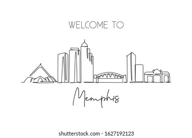 Single continuous line drawing of Memphis city skyline, USA. Famous city scraper and landscape. World travel concept home wall decor poster print art. Modern one line draw design vector illustration