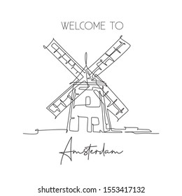 Single continuous line drawing Molen De Adriaan Windmill landmark. Beauty famous place in Netherlands. World travel home decor wall art poster concept. Modern one line draw design vector illustration