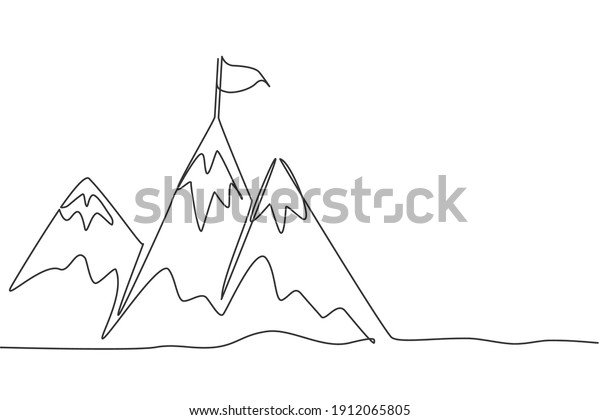 Single continuous line drawing mountains with target flag on the top. Reaching and climbing business goal on the hill top. Minimalism concept dynamic one line draw graphic design vector illustration