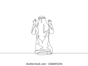 Single continuous line drawing of muslim person raise and open hands praying on shmag traditional Arab cloth, from back view. Ramadan Kareem greeting card concept one line draw design illustration