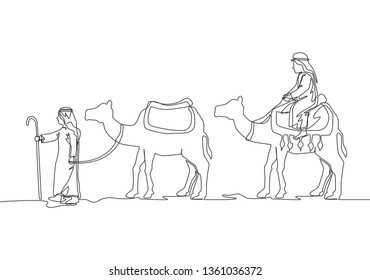 Single continuous line drawing of muslim wanderer walking and riding camel through the desert. Islamic Eid ul Fitr greeting card concept one line draw design illustration