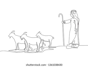 Single continuous line drawing of muslim shepherd take goats to grass field. Islamic holiday the sacrifice a goat or sheep, Eid al Adha greeting card concept one line draw design illustration