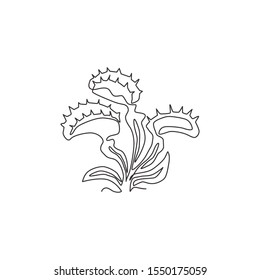 Single continuous line drawing of mysterious fresh venus flytrap for home decor wall art poster print. Scary dionaea muscipula for monster creature character. One line draw design vector illustration