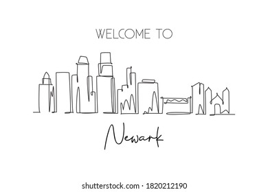 Single continuous line drawing of Newark city skyline, New Jersey. Famous city scraper landscape. World travel home wall decor art poster print concept. Modern one line draw design vector illustration