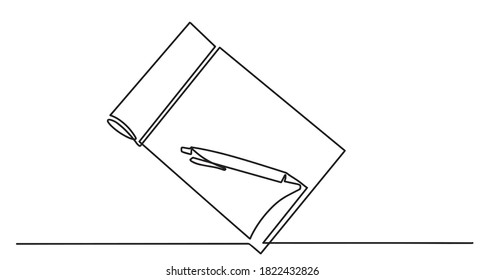 Single continuous line drawing of notebook or notepad with a pencil above work desk. Writing business draft on office notes concept. Notebook and pen one line drawing vector.