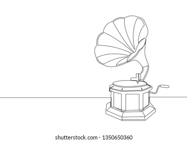 Single continuous line drawing of old retro gramophone. Classic vintage music player concept one line draw design illustration