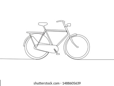 Single continuous line drawing of old classic roadster bicycle. Vintage bike concept. One line draw design vector illustration