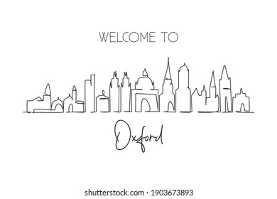 Single continuous line drawing Oxford skyline, England. Famous city scraper landscape gallery. World travel home wall decor art poster print concept. Modern one line draw design vector illustration