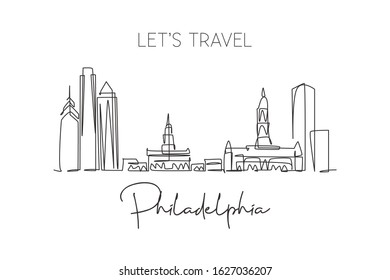 Single continuous line drawing of Philadelphia city skyline, United States of America. Famous landscape. World travel poster print art. Editable stroke modern one line draw design vector illustration