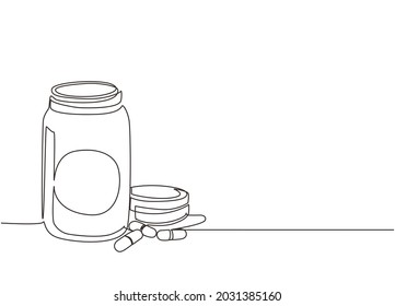 Single continuous line drawing pill bottle. Medical capsules container. Tablet pills medical drug pharmacy care and tablet pills antibiotic pharmaceutical. Dynamic one line draw graphic design vector