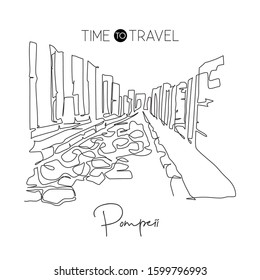 Single continuous line drawing Pompeii ancient Roman city landmark. Historic beautiful place in Naples, Italy. World travel wall decor poster concept. Modern one line draw design vector illustration