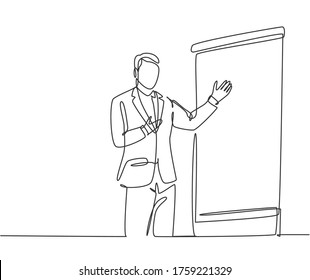 Single continuous line drawing of presenter present product technology innovation to his colleagues at office. Work strategic planing presentation concept one line draw design vector illustration