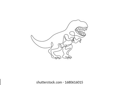 Single continuous line drawing of scary tyrannosaurus rex dinosaurs. Prehistoric museum logo concept. Trendy one line draw design graphic vector illustration