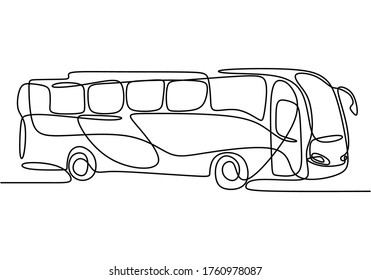 Single continuous line drawing of school bus. Regularly used to transport students. Back to school concept isolated on white background. Minimalism style. Vector design illustration