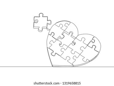 Single continuous line drawing of set puzzle pieces put it together to cute heart shape form. Romantic love concept one line draw design illustration