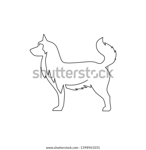 Single Continuous Line Drawing Simple Cute Stock Vector Royalty