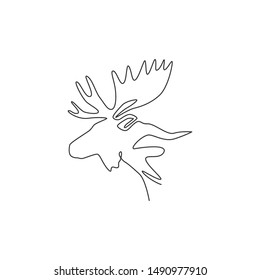 Single continuous line drawing of sturdy moose head for logo identity. Buck animal mascot concept for national zoo icon. One line draw design vector illustration