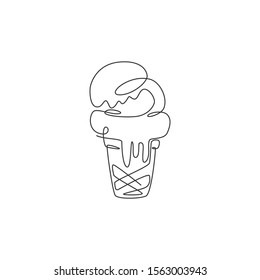 Single continuous line drawing of stylized ice cream cone store logo label. Emblem dessert restaurant concept. Modern one line draw design vector illustration for cafe, shop or food delivery service