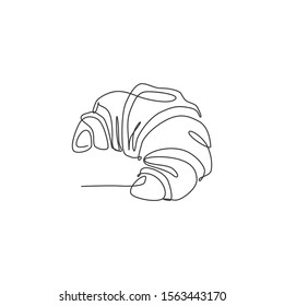 Single continuous line drawing of stylized sweet online croissant cake shop logo label. Emblem pastry store concept. Modern one line draw design vector illustration for cafe or food delivery service