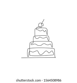 Single continuous line drawing of stylized pilled anniversary cake with cherry fruit topping art. Pastry confectionery concept. Modern one line draw design vector graphic illustration for cake shop