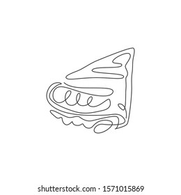 Single continuous line drawing of stylized crispy crepes with syrup,  sauce chocolate stuffing logo label. Sweet snack restaurant concept. Modern one line draw design vector illustration for cafe shop