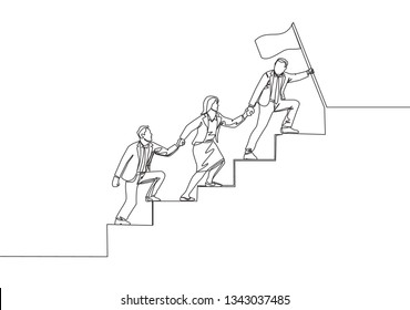 Single continuous line drawing of team members holding hands together following their leader who hold the flag climbing up the stairs step by step. Teamwork concept one line draw design illustration