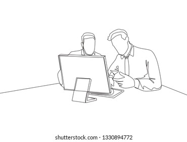 Single continuous line drawing of two young sales manager analyze sales growth chart on screen monitor. Sales evaluation concept one line draw design illustration