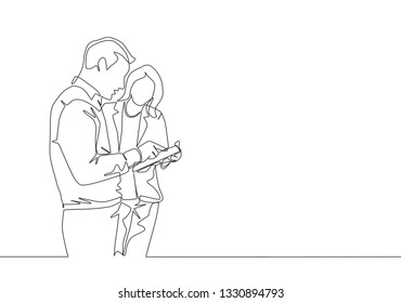 Single continuous line drawing of two young male and female director watching company growth chart on screen tablet. Business growth concept one line draw design illustration