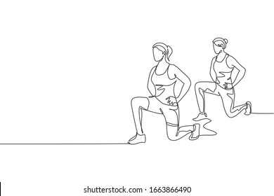 Single continuous line drawing two of young sportive women training and stretching together in sport gymnasium club center. Fitness stretching concept. Trendy one line draw design vector illustration