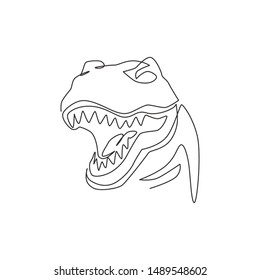Single continuous line drawing of tyrannosaurus rex head for logo identity. Prehistoric animal mascot concept for dinosaurs theme amusement park icon. One line draw graphic design vector illustration