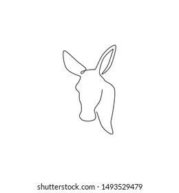 Single continuous line drawing of walking donkey for ranch logo identity. Tiny horse size mascot concept for donkey farm icon. Modern one line draw design vector graphic illustration