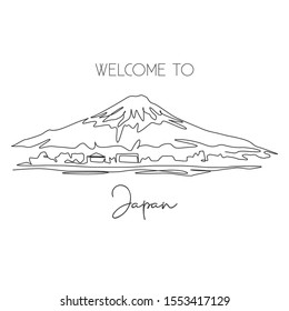 Single continuous line drawing of welcome to Mount Fuji scenery landmark. Beautiful famous place in Honshu, Japan. World travel campaign concept. Modern one line draw design vector illustration