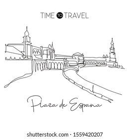 Single continuous line drawing of welcome to Plaza de Espana landmark. Beautiful famous place in Sevilla, Spain. World travel tour campaign concept. Modern one line draw design vector illustration