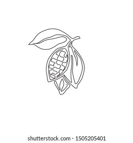 Single continuous line drawing of whole healthy organic cocoa bean for plantation logo identity. Fresh cacao concept for chocolate shop icon. Modern one line draw design vector illustration