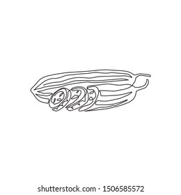 Single continuous line drawing of whole and sliced healthy organic sponge gourd for logo identity. Fresh Vietnamese luffa concept for vegetable icon. Modern one line draw design vector illustration