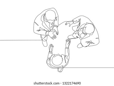 Single continuous line drawing of young businessmen chatting on business conference event from top view. Business concept one line draw design illustration