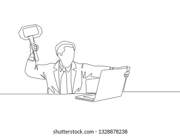 Single continuous line drawing of young madness businessman ready to smack his laptop using big hammer. Business risk concept one line draw design illustration