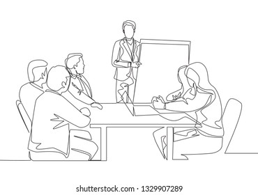 Single continuous line drawing of young happy business instructor teaching interpersonal skill to the attendees. Business training concept one line draw design illustration