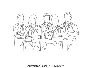 Single continuous single line drawing of young male and female doctors standing and posing together. Medical workers teamwork concept one line draw design illustration