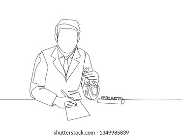 Single continuous line drawing of young male laboratorian writing drug antibiotic formula at laboratory. Medical research concept one line draw design illustration