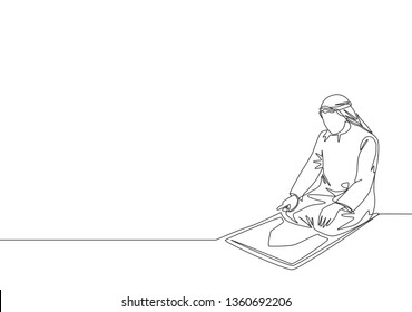 Single continuous line drawing of young muslim person pray on sajadah in traditional Arab clothing. Ramadan Kareem and Eid Mubarak greeting card concept one line draw design illustration