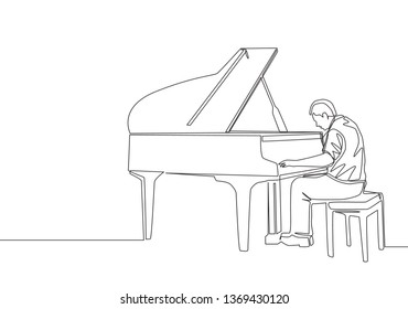 Single continuous line drawing of young happy male pianist playing classic grand piano on music concert orchestra. Musician artist performance concept one line draw design illustration